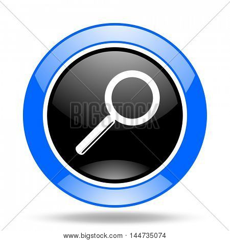 search round glossy blue and black web icon