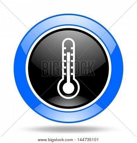 thermometer round glossy blue and black web icon
