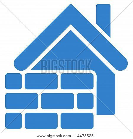 Realty Brick Wall icon. Glyph style is flat iconic symbol, cobalt color, white background.