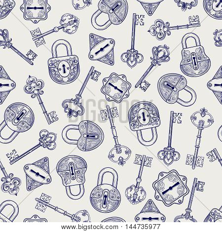 Seamless pattern with hand drawn locks and keys. Ball pen imitation vector