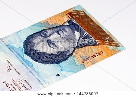 2 Venezuelan bolivares bank note. Bolivares fuertes is national currency of Brasil