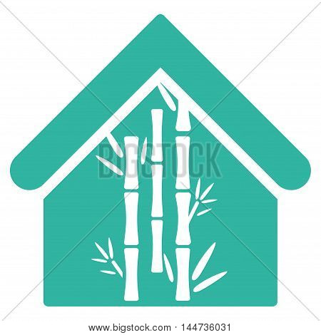 Bamboo House icon. Glyph style is flat iconic symbol, cyan color, white background.