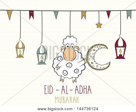 Eid Al Adha mubarak. Hand drawn poster. Colorful hanging lantern. Vector illustration.