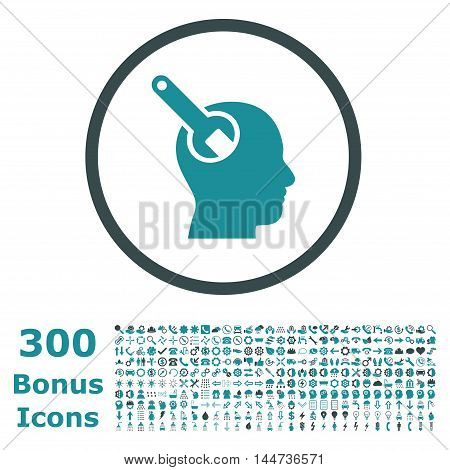 Brain Tool rounded icon with 300 bonus icons. Vector illustration style is flat iconic bicolor symbols, soft blue colors, white background.