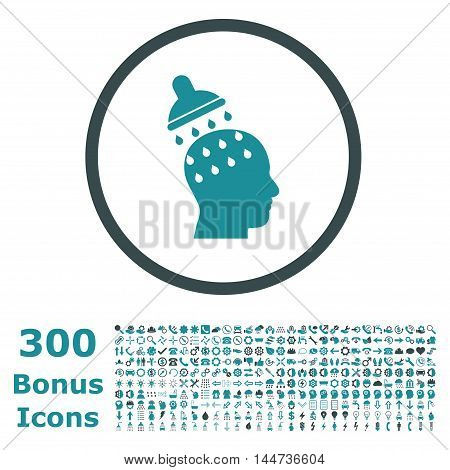 Brain Washing rounded icon with 300 bonus icons. Vector illustration style is flat iconic bicolor symbols, soft blue colors, white background.