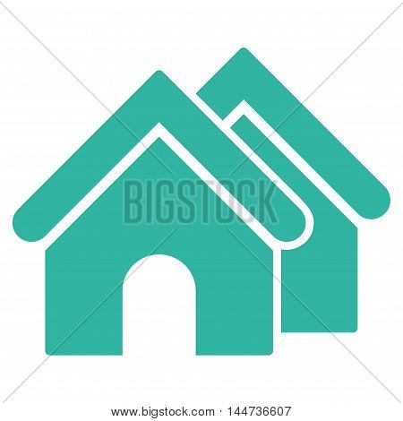 Real Estate icon. Glyph style is flat iconic symbol, cyan color, white background.
