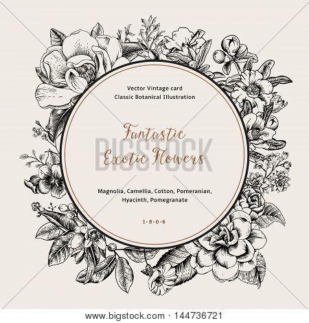 Wreath with exotic flowers. Black magnolia camellia hyacinth pomegranate on white background. Vector Vintage card.