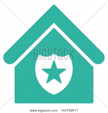 Realty Protection icon. Glyph style is flat iconic symbol, cyan color, white background.