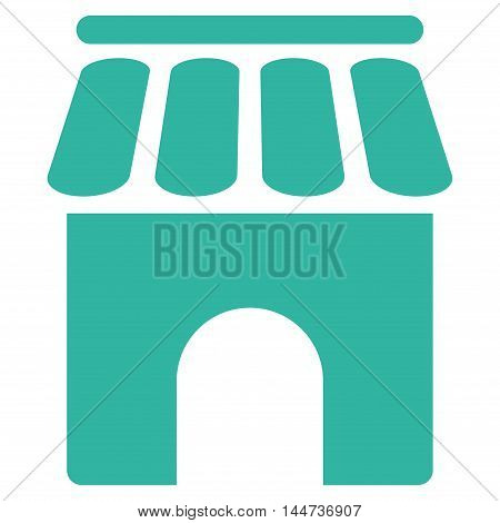 Shop Building icon. Glyph style is flat iconic symbol, cyan color, white background.