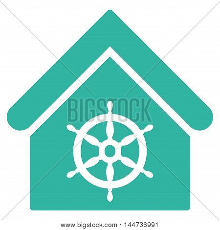 Steering Wheel House icon. Glyph style is flat iconic symbol, cyan color, white background.