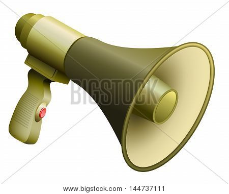 Army bullhorn or megaphone with handle and button.