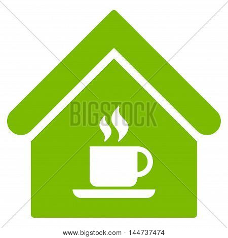 Cafe House icon. Glyph style is flat iconic symbol, eco green color, white background.