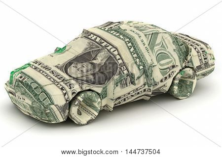 Dollar Car. Money origami. Car made from American One dollar bill 3d rendering