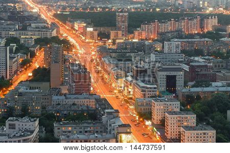 Top view of Moscow city skyline. View on a great street in the center of Moscow with heavy traffic in the evening