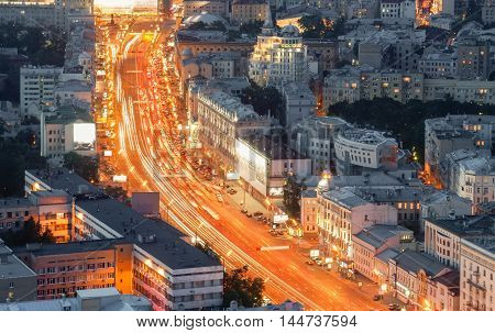 Top view on a great street in the center of Moscow with heavy traffic in the evening
