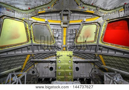 The unfinished cabin soviet spaceship with the windows closed