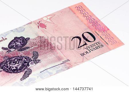 20 Venezuelan bolivares bank note. Bolivares fuertes is national currency of Brasil
