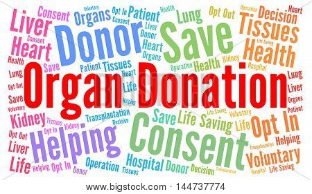 Organ donation word cloud concept with a white background