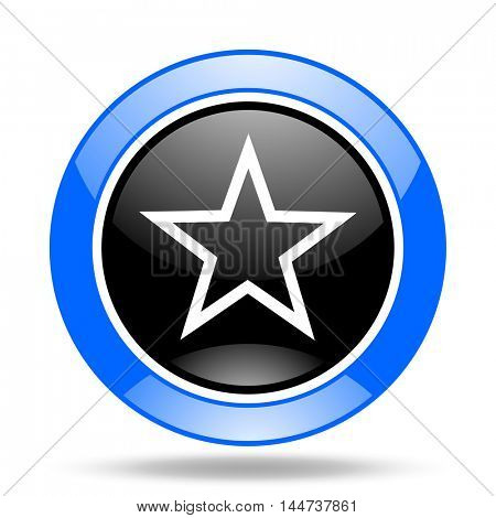 star round glossy blue and black web icon