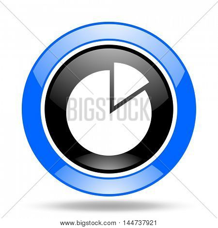 chart round glossy blue and black web icon