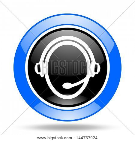 customer service round glossy blue and black web icon