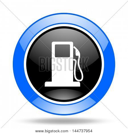petrol round glossy blue and black web icon