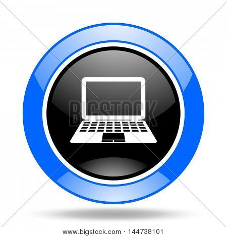 computer round glossy blue and black web icon