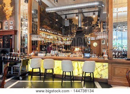 MOSCOW - JULY 2014: Interior of a luxury restaurant in the art deco style -