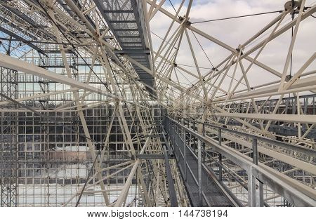 Giant metal construction frame in the daytime