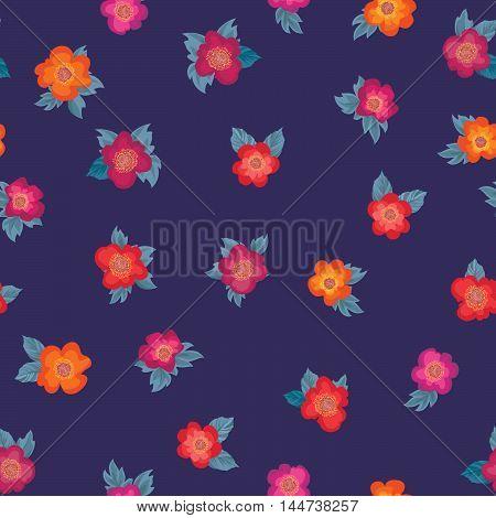 Floral pattern. Flower posy ornament. Flourish ornamental background