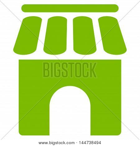 Shop Building icon. Glyph style is flat iconic symbol, eco green color, white background.