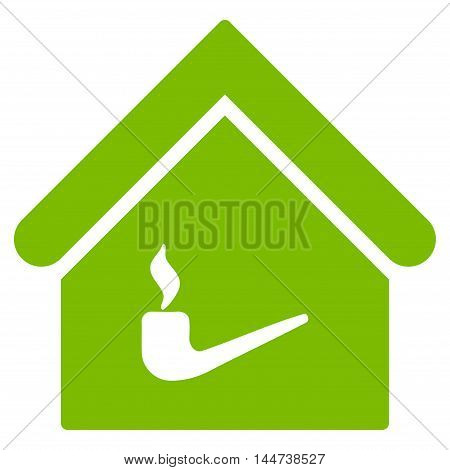Smoking Room icon. Glyph style is flat iconic symbol, eco green color, white background.