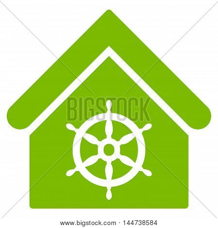 Steering Wheel House icon. Glyph style is flat iconic symbol, eco green color, white background.