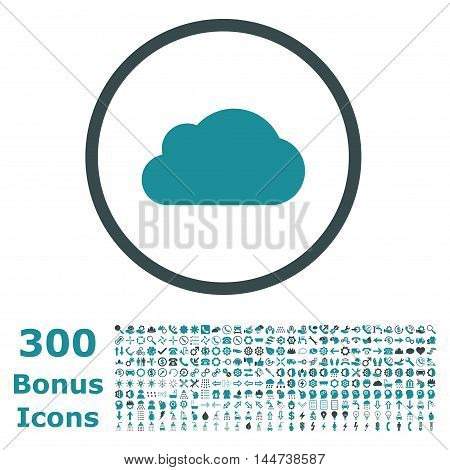 Cloud rounded icon with 300 bonus icons. Vector illustration style is flat iconic bicolor symbols, soft blue colors, white background.
