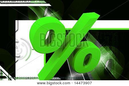 Digital illustration of Percentage sign in 3d on white background