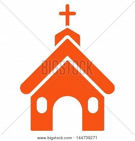 Church icon. Glyph style is flat iconic symbol, orange color, white background.