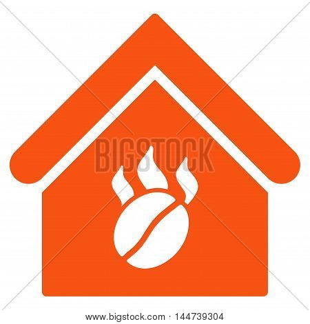 Coffee Shop icon. Glyph style is flat iconic symbol, orange color, white background.