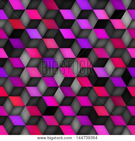 Vector Seamless Multicolor Pink Purple Gradient Cube Shape Rhombus Grid Pattern. Abstract Geometric Background Design