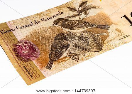 100 Venezuelan bolivares bank note. Bolivares fuertes is national currency of Brasil