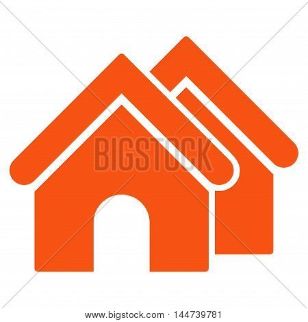 Real Estate icon. Glyph style is flat iconic symbol, orange color, white background.