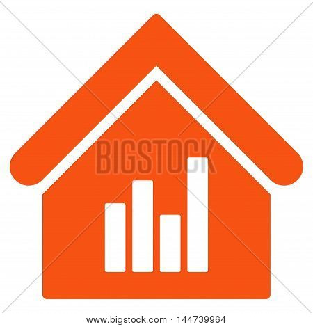 Realty Bar Chart icon. Glyph style is flat iconic symbol, orange color, white background.