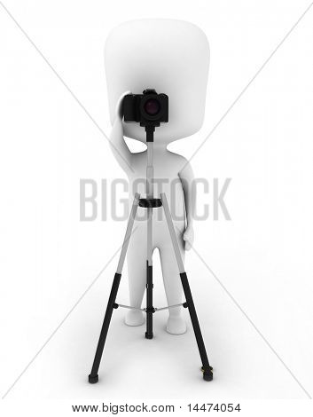 3D Illustration of a Man Using a Camera Mounted on a Tripod