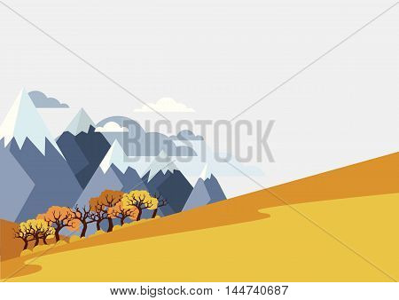 Autumn Mountains Landscape, Vector Background With Place For Text.