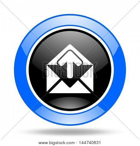 email round glossy blue and black web icon