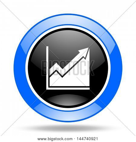 histogram round glossy blue and black web icon
