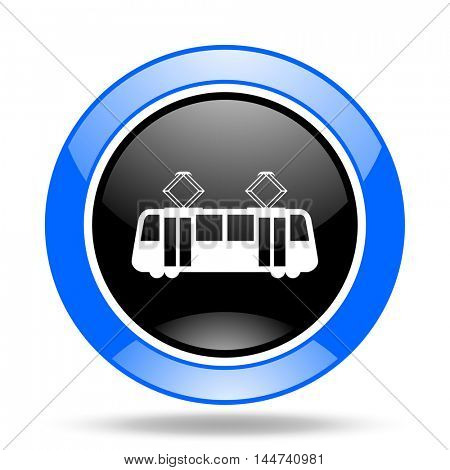 tram round glossy blue and black web icon