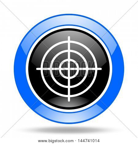 target round glossy blue and black web icon