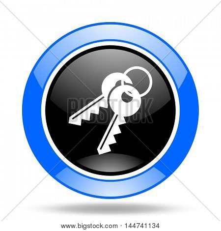 keys round glossy blue and black web icon