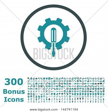 Engineering rounded icon with 300 bonus icons. Vector illustration style is flat iconic bicolor symbols, soft blue colors, white background.