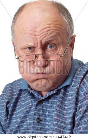 Bald Senior Man Fooling Around.